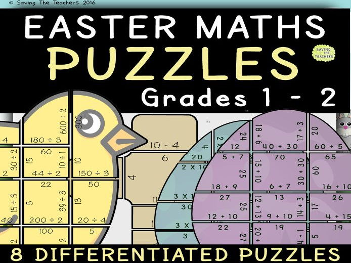 Easter Maths Puzzles: Grades 1 and 2
