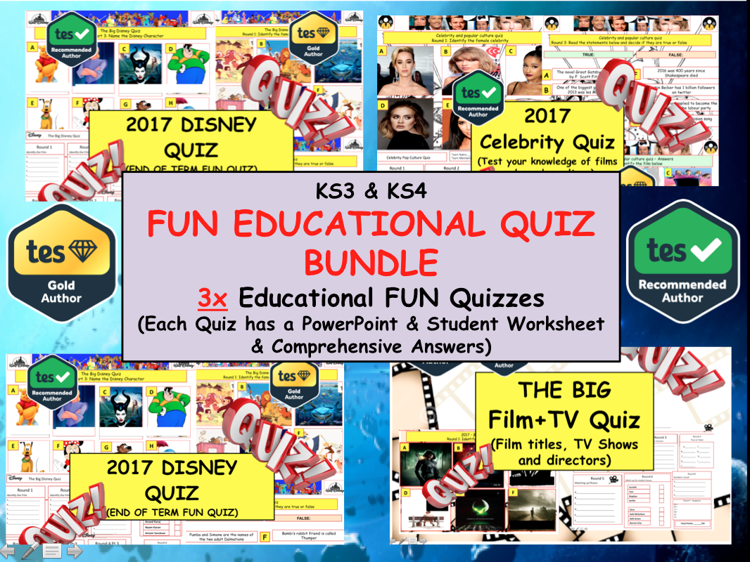 Big FILM & TV /Celebrity Culture /. Disney 3x Educational Quizzes