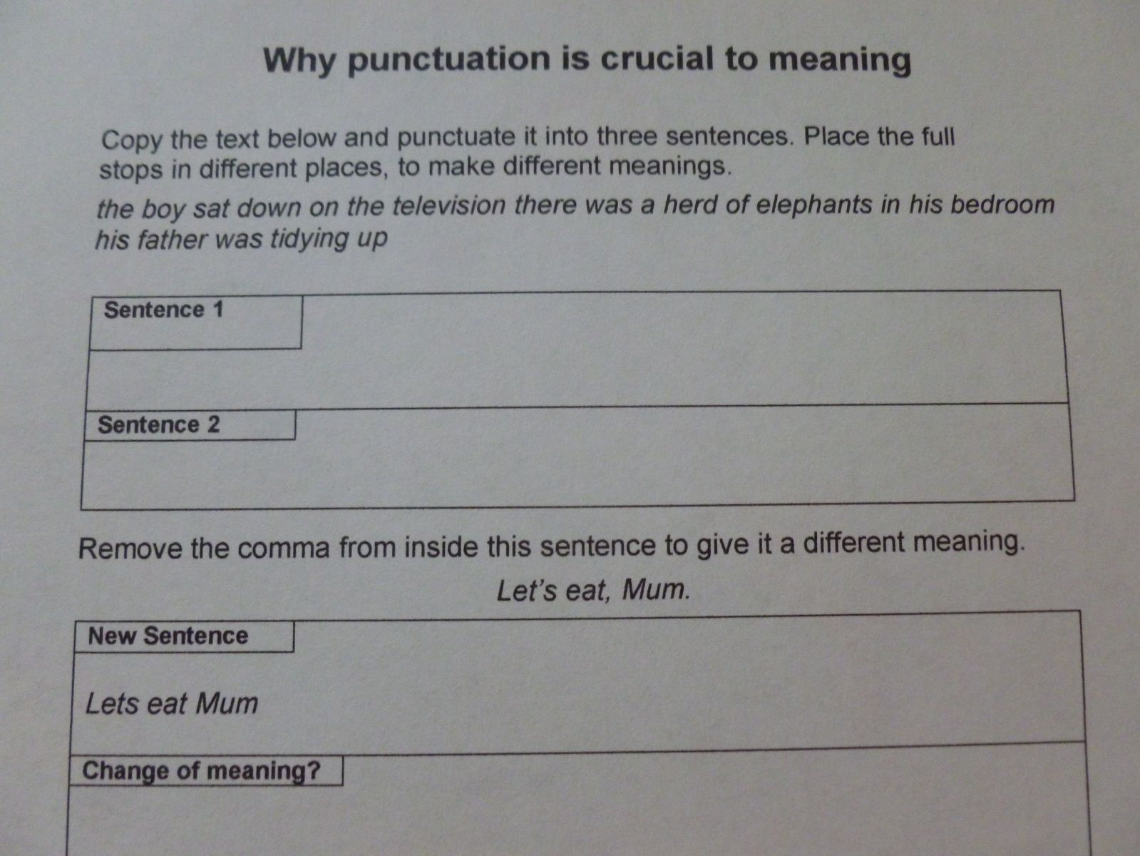 Funny examples of how punctuation changes meaning.