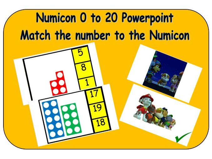 Numicon and number recognition - Match the Numicon to numbers 0-20  powerpoint