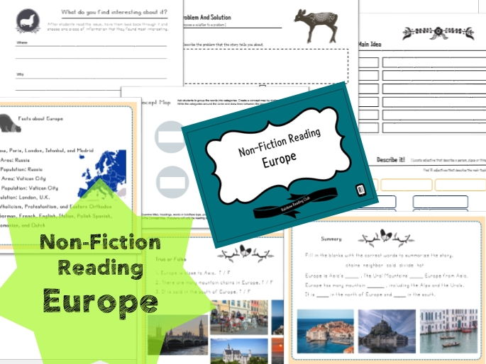 Non-Fiction Reading worksheet for KS1,2&ESL,EFL class - Europe 3A