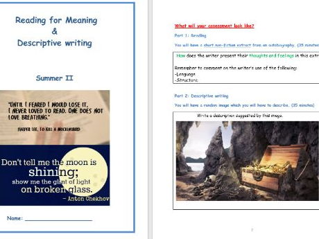 KS3 Reading for meaning + Descriptive Writing (English Language)