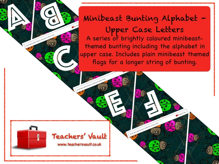 Minibeast Bunting Alphabet - Upper Case Letters