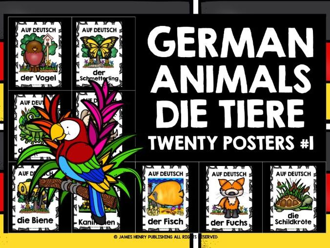 PRIMARY ANIMALS GERMAN POSTERS #1