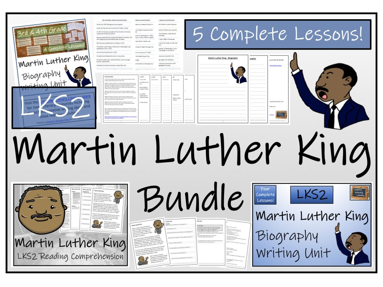 LKS2 History - Martin Luther King Reading Comprehension & Biography Bundle