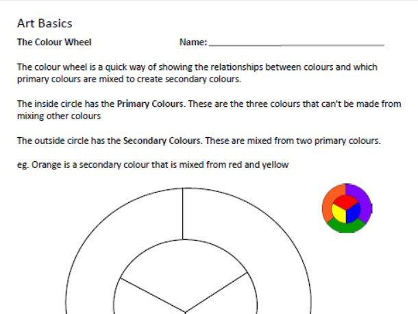 Art Basics - Colour Wheel Worksheet - Middle School