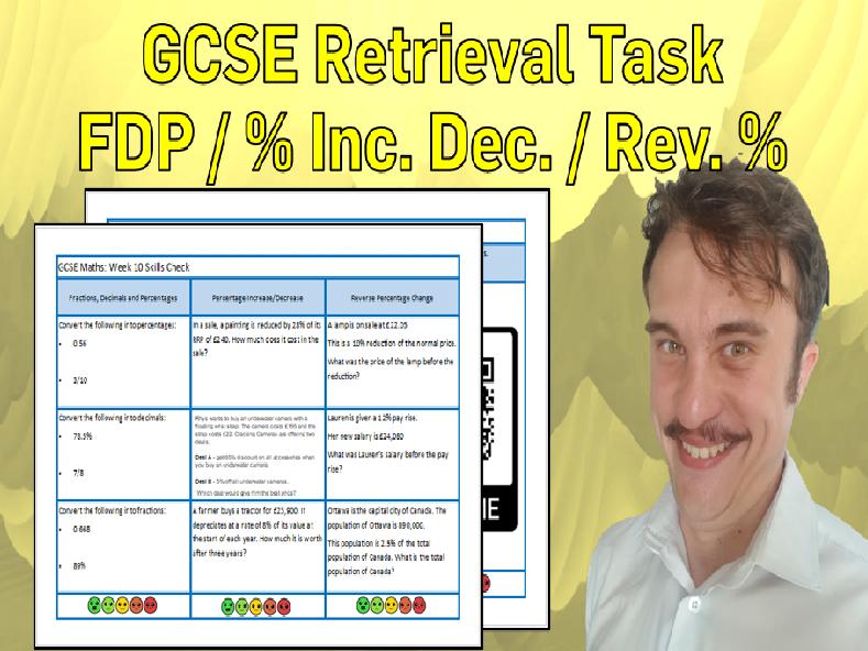 Fraction Decimal Percentage Equivalence and Reverse Percentages GCSE Foundation Retrieval Sheet