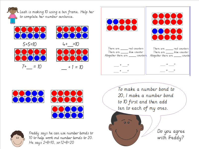 Year 1 Using Number Bonds To 10 To Derive Number Bonds To 20 Using