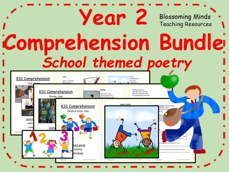 Year 2 poetry comprehension - School themed bundle