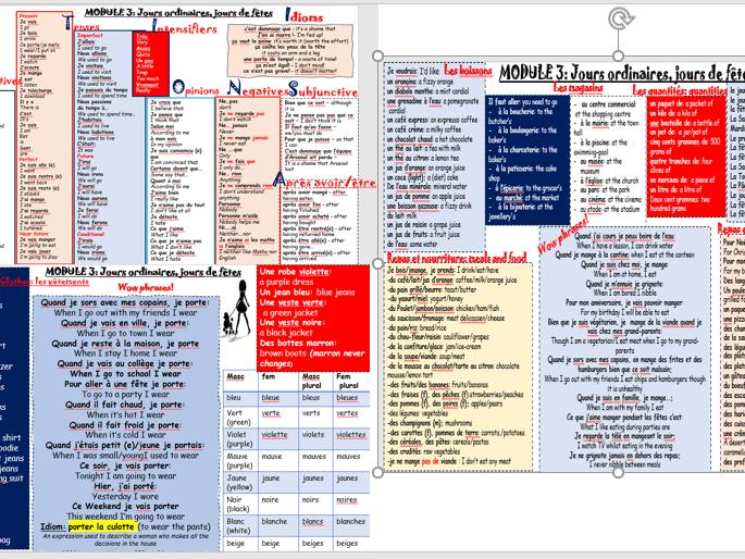 Module 3 entire vocabulary mat: jours de fetes, jours ordinaires KS4 French