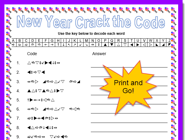 New Year Crack the Code Activity with Answers