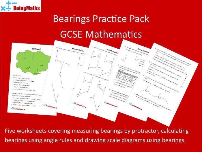 Bearings Worksheet Pack - GCSE Mathematics Bearings, angles and scale drawings