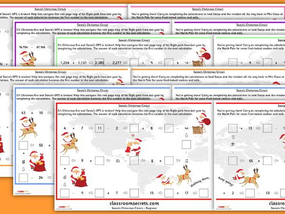 Santa themed WRM Calculations Worksheets