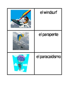 Deportes (Sports in Spanish) Card Games