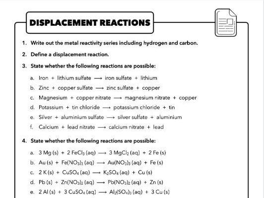 4.7 Displacement reactions (Extracting metals), AQA Chemistry