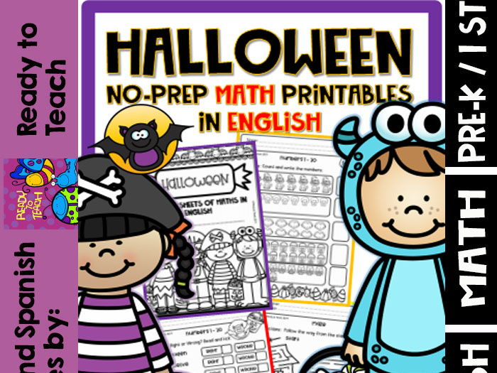 No-Prep Printables - Math Halloween in English