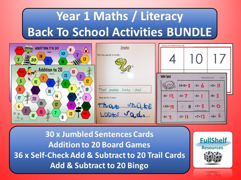 Back to School Maths / Literacy Activities BUNDLE (Year 1 / P2)