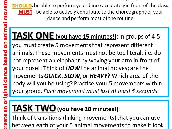 COVER Task Cards for Dance/PE