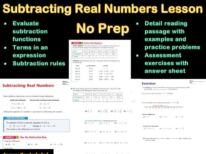 Subtracting Real Numbers Lesson No Prep With Answer Sheet (Distance Learning)