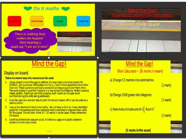 GCSE 9-1 New Specification; Mind the gap (wk 4)  - Foundation.
