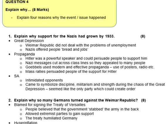 Eduqas / WJEC GERMANY 1919-1991 Exam questions & answers revision
