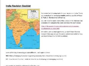 India Revision Booklet. For AQA or Edexcel B. Using Oak National Academy.