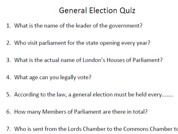 General Election Quiz - Election, Parliament, Government, Politics