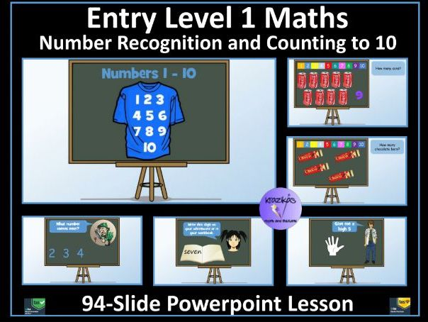 Entry Level 1 Maths: Number Recognition Counting to 10 - 94 Slide PowerPoint Lesson - SEN Resource