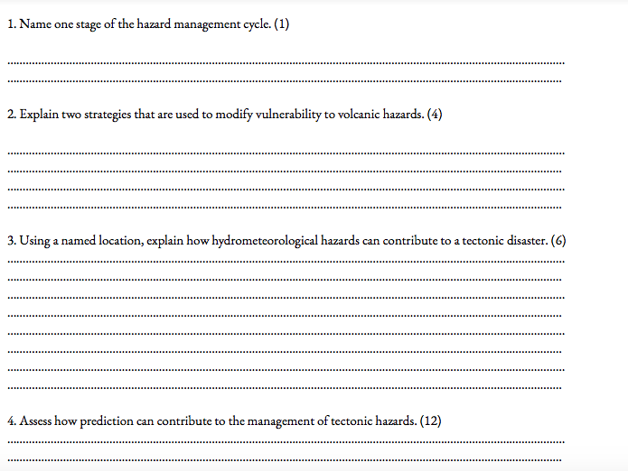 Physical Geography Edexcel Exam Questions