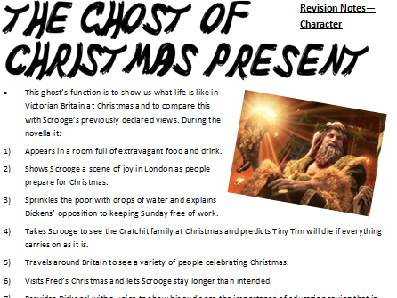AQA Lit - New Spec - A Christmas Carol - Revision Notes - The Ghost of Christmas Present