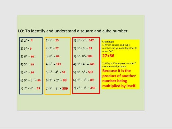 Square and cube numbers year 6
