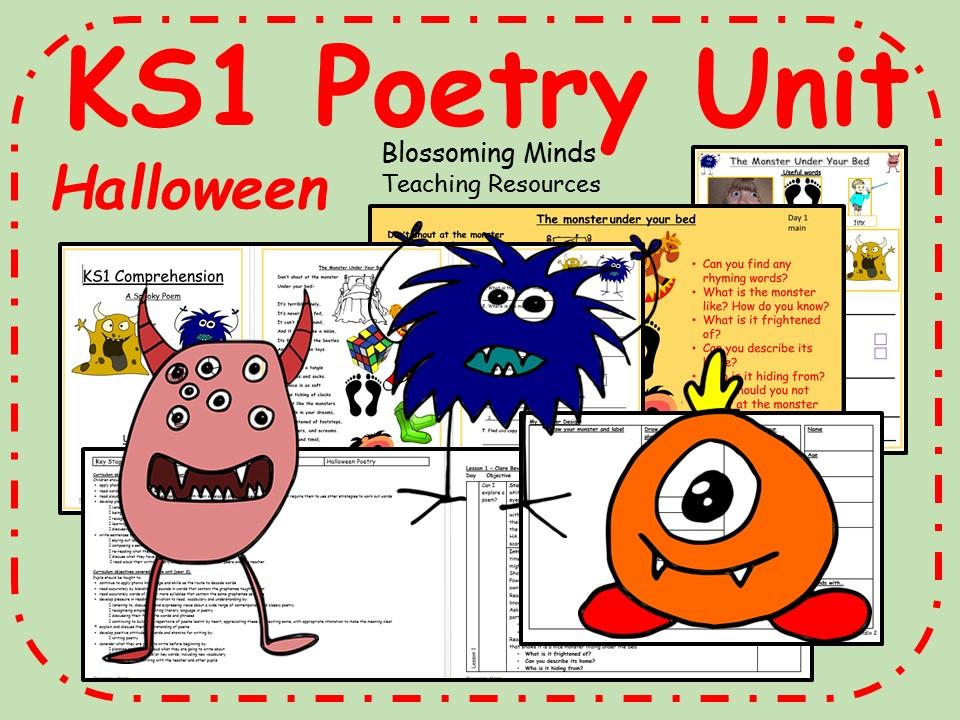 KS1 Halloween poetry unit - 3 lessons (monster theme)