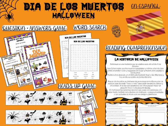 HALLOWEEN-SPANISH- VOCABULARY-READING AND COMPREHENSION