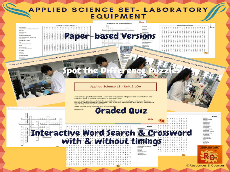 Applied Science Interactive Puzzles & Graded Quiz  (6 products)
