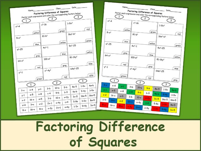 Factoring Difference of Squares Color Mosaic