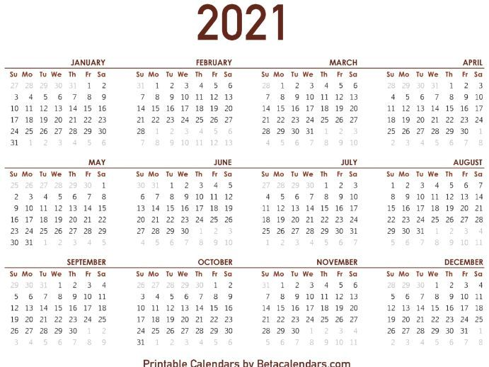 2021 Calendar | Teaching Resources