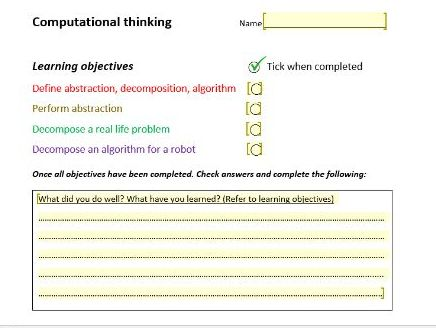Computational thinking- abstraction, decomposition, algorithmic thinking worksheet