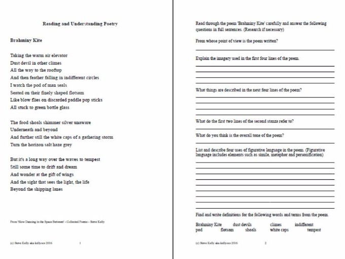 Reading and Understanding Poetry - Brahminy Kite - Poetry Lesson - Stages 5 and 6 English