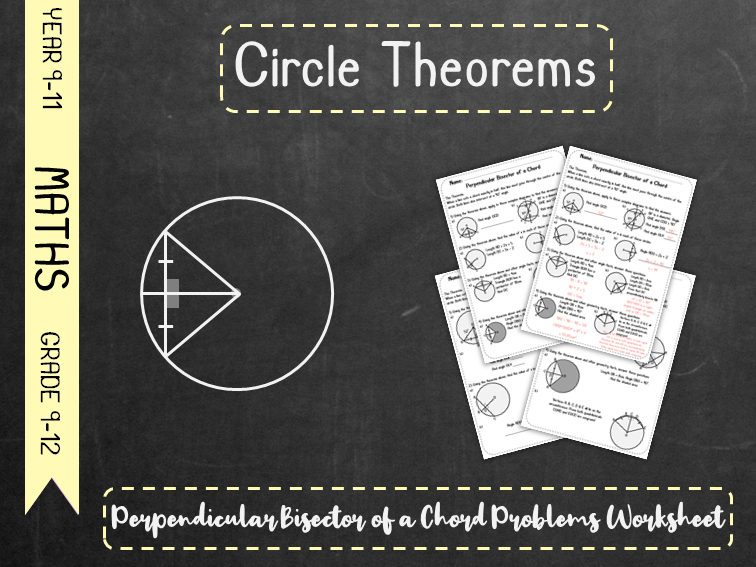 Circle Theorems - Perpendicular Bisector of a Chord Problems Worksheet