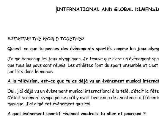 GCSE French Exam Practice International and Global Dimension