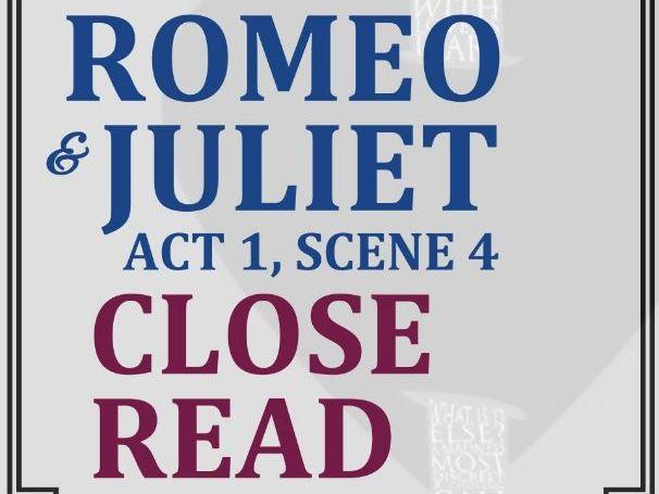 Romeo & Juliet Close Reading Worksheet (Act 1, Scene 4)