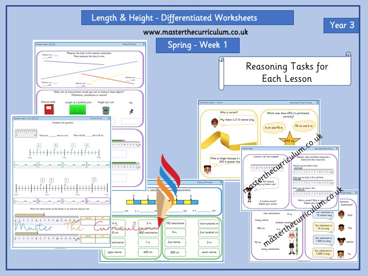 Year 3 - Spring Week 1- Length and Height - Differentiated Worksheets-  White Rose Style