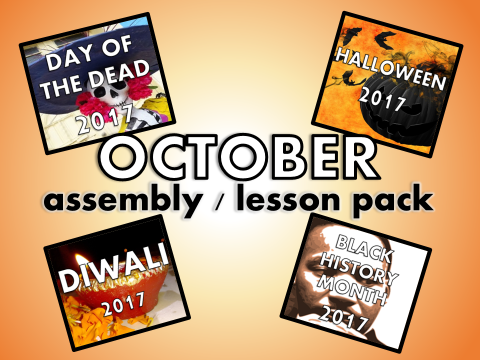 October Assembly / Lesson/ Quiz Pack - Halloween, Diwali, Day of the Dead, Black History Month