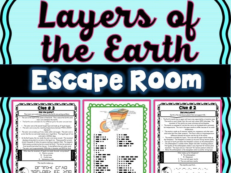 Layers of the Earth ESCAPE ROOM!  Earth Science Activity