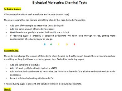 Biological Molecules Chemical Tests (AQA A-Level Biology)
