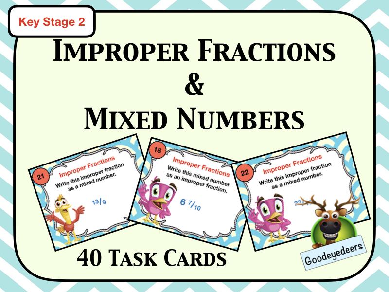 Maths Task Cards - Improper Fractions