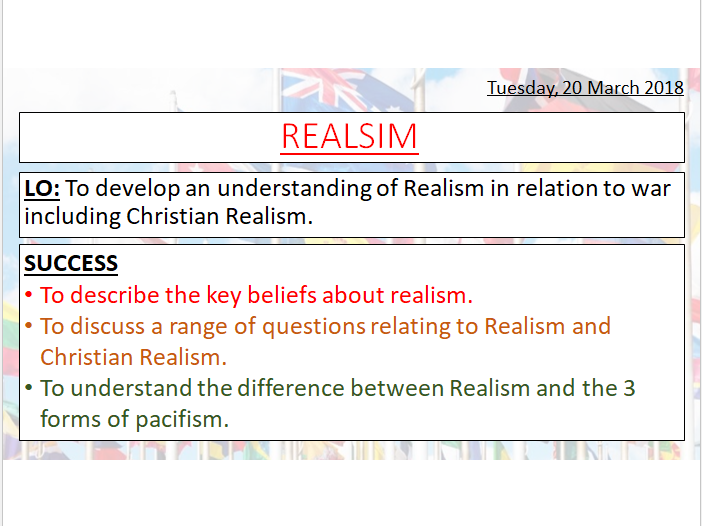 REALISM AND CHRISTIAN REALISM- In relation to War and Peace - A-LEVEL - PRE U