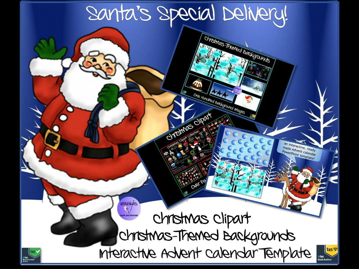 Santa's Special Delivery Bundle -Christmas Clipart, Christmas Themed Slide Backgrounds, Ready Made Interactive Advent Calendar Templates To Personalise