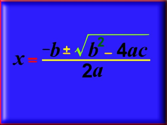 The Quadratic Formula - With Answers