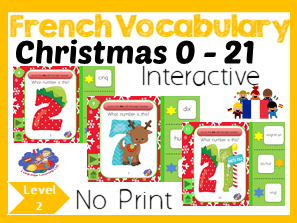 French Numbers 1 -21 - Number to Number Word Interactive Christmas Game